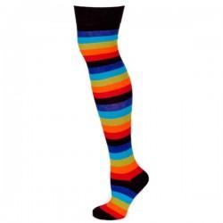 Over The Knee Stripey Socks Dark Rainbow