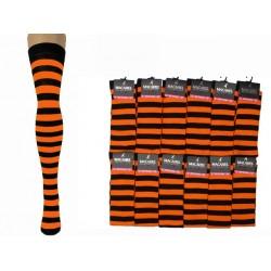 Over The Knee Stripey Socks Black/Orange