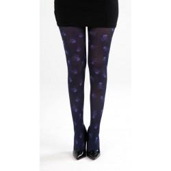 Skull Print Tights-Black/Purple