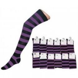 Over The Knee Stripey Socks-Black/Purple
