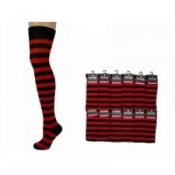 Over The Knee Stripey Socks-Black/Red