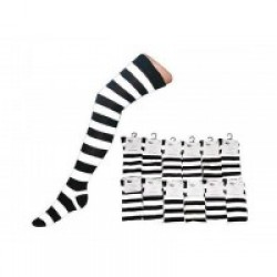Over The Knee Stripey Socks-Black/White