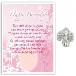 Angel Pin & Sentiment Card Happy Birthday
