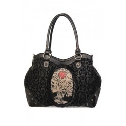 Banned Lolita Rose Cameo Flocked Hand Bag