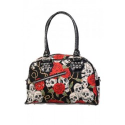 Banned Skull & Rose Print Hand Bag