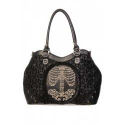 Banned Spine Cameo Flocked Hand Bag