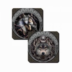 Anne Stokes Coasters Set Of 2 Wolves