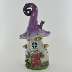 Fairy Garden House Purple Toadstool Cottage