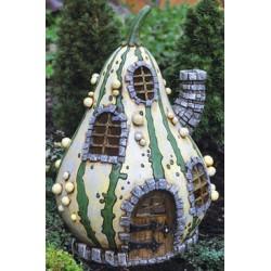 Fairy Garden House Striped Gourd