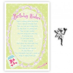 Fairy Pin & Sentiment Card Birthday Wishes