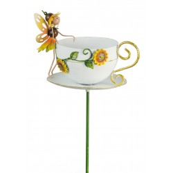Fairy Garden Metal Accessories Teacup Stake Honey Sunflower