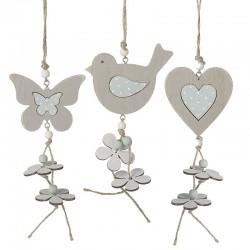 Wooden Hanging Decoration Butterfly, Bird, Heart