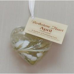 Birthstone Glass Heart-April/Diamond
