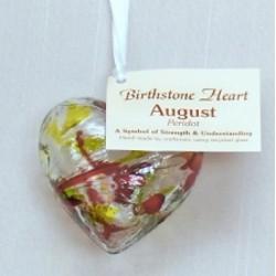 Birthstone Glass Heart-August/Peridot