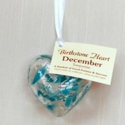 Birthstone Glass Heart-December/Turquoise