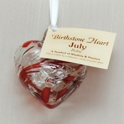 Birthstone Glass Heart-July/Ruby