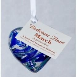 Birthstone Glass Heart-March/Aquamarine