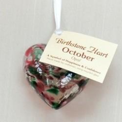 Birthstone Glass Heart-October/Opal