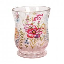 Glass Tealight Holder Floral Butterfly