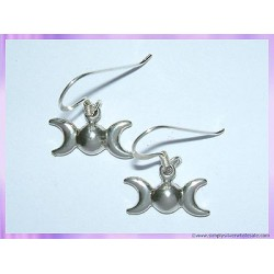 Silver Earrings Triple Moon