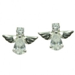 Silver Cute Guardian Angel Clear Cubic Zirconia Stud Earrings 1729