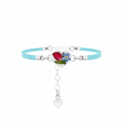 Rose & Forget Me Not Heart Bracelet TBR08