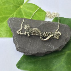Silver Cat & Broomstick Necklace