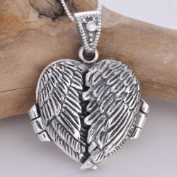 Silver Necklace Angel Wing Locket