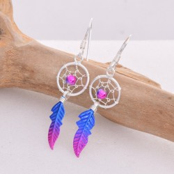 Silver Earrings Dreamcatcher Blue/Pink