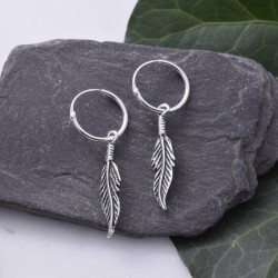 Silver Hoop Earrings Feather