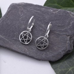 Silver Hoop Earrings Pentagram