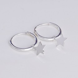 Silver Hoop Earrings Stars