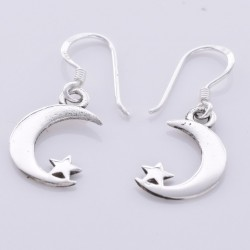 Silver Earrings Crescent Moon & Star