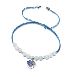 Forget Me Not Heart Bracelet With Aquamarine TGBR05