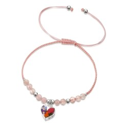 Country Garden Heart Bracelet With Rose Quartz TGBR09