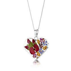 Country Garden Mixed Flower Medium Heart Pendant MP23