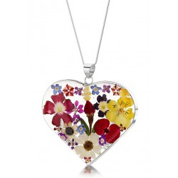 Country Garden Mixed Flower Large Heart Pendant MP08