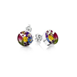 Country Garden Mixed Flower Round Stud Earrings ME21