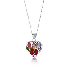 Country Garden Mixed Flower Small Heart Pendant MP47