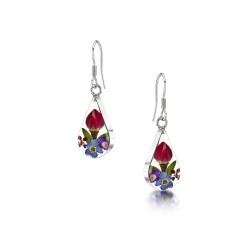County Garden Mixed Flower Teardrop Dangle Earrings ME01