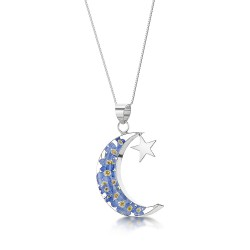 Forget Me Not Moon & Star Pendant FP24