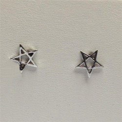 Silver 5 Pointed Star Stud Earrings