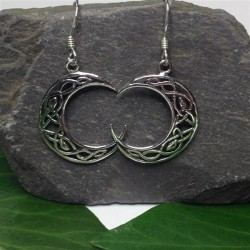 Silver Celtic Knotwork Moon Earrings
