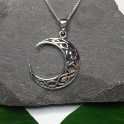 Silver Celtic Knotwork Moon Necklace