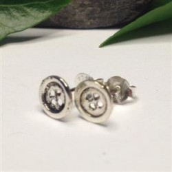 Silver Button Stud Earrings