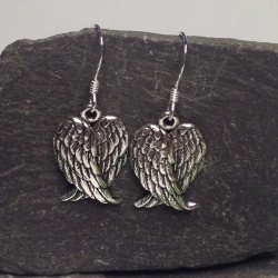 Silver Double Angel Wing Earrings