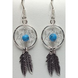 Silver Earrings Dreamcatcher Turquoise