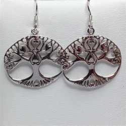 Silver Earrings Oval Tree Of Life