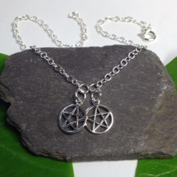 Silver Ankle Chain Pentagram
