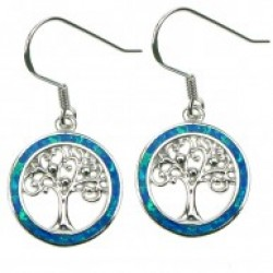Silver Earrings Blue Opal Tree Of Life